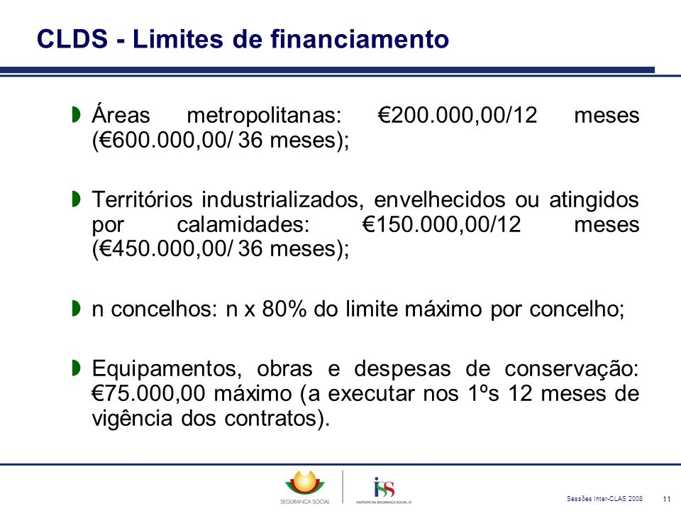 Sessões Inter-CLAS 2008 11 CLDS - Limites de financiamento  Áreas metropolitanas: €200.000,00/12 meses (€600.000,00/ 36 meses);  Territórios industr