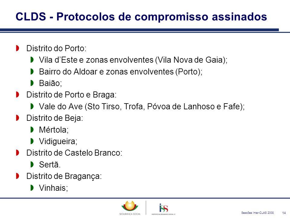 Sessões Inter-CLAS 2008 14 CLDS - Protocolos de compromisso assinados  Distrito do Porto:  Vila d'Este e zonas envolventes (Vila Nova de Gaia);  Ba