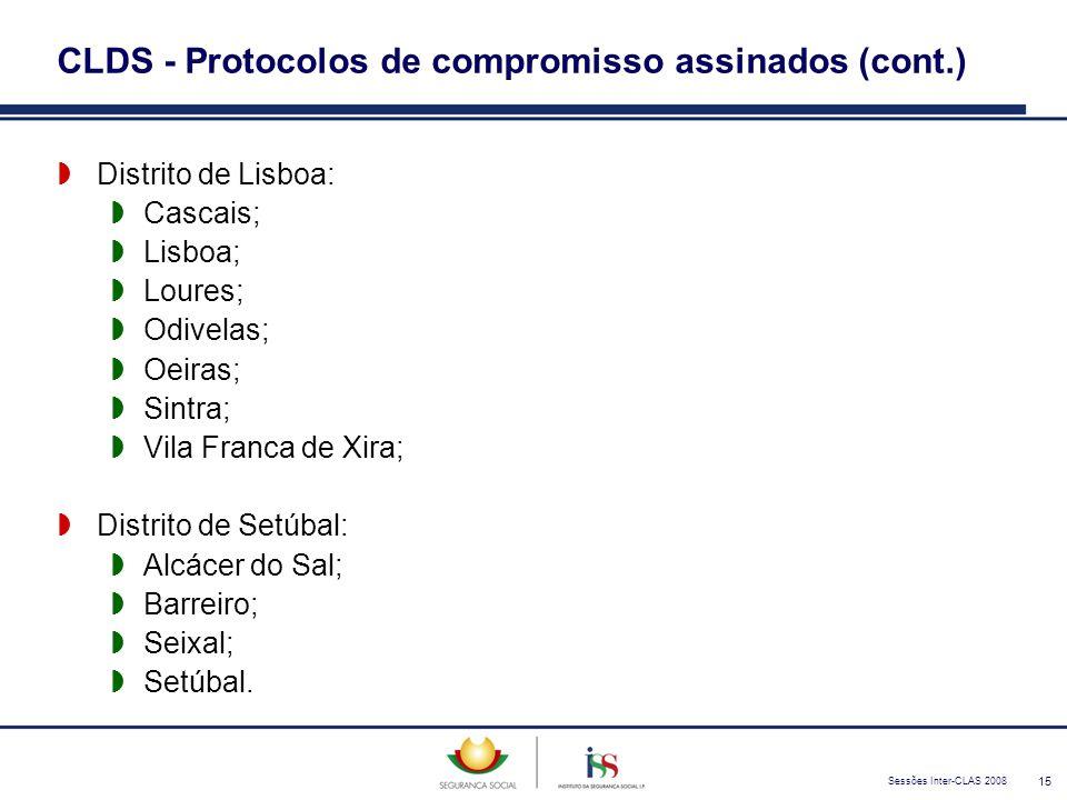 Sessões Inter-CLAS 2008 15 CLDS - Protocolos de compromisso assinados (cont.)  Distrito de Lisboa:  Cascais;  Lisboa;  Loures;  Odivelas;  Oeira