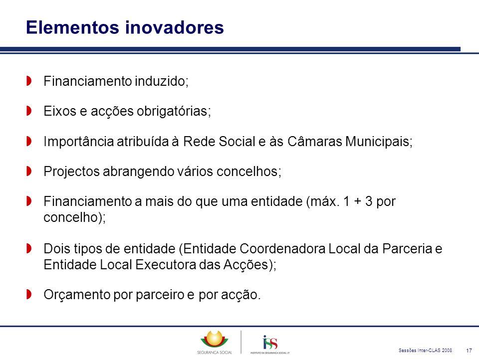 Sessões Inter-CLAS 2008 17 Elementos inovadores  Financiamento induzido;  Eixos e acções obrigatórias;  Importância atribuída à Rede Social e às Câ