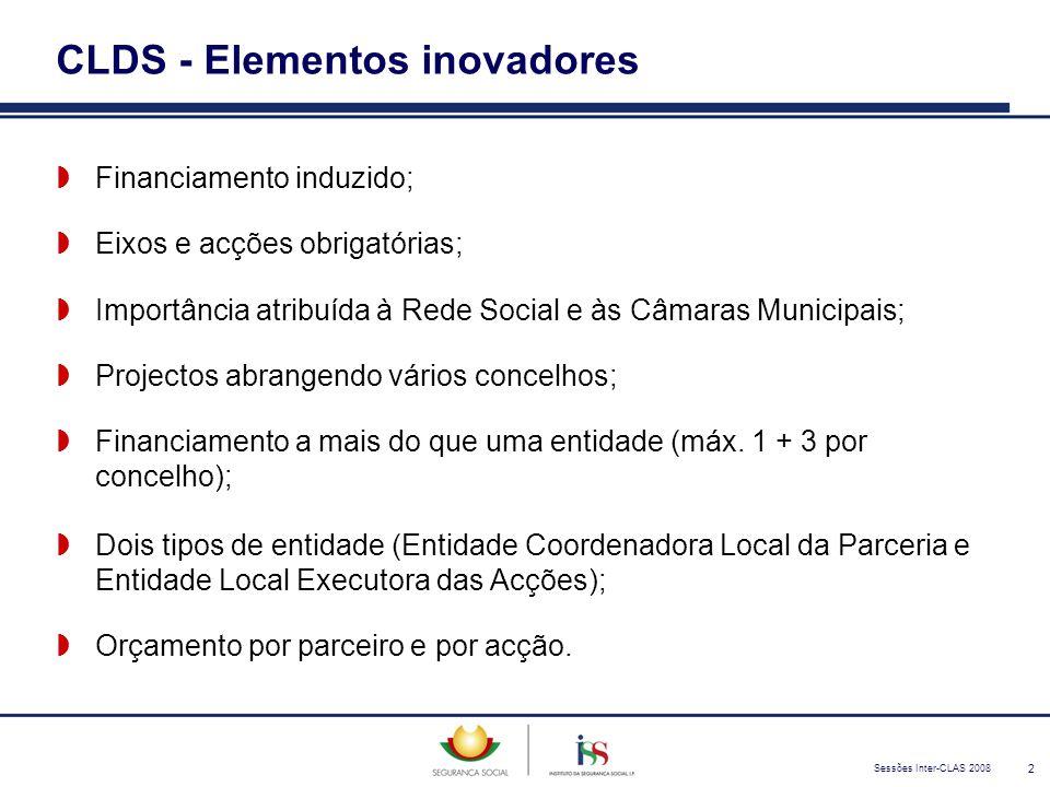 Sessões Inter-CLAS 2008 2 CLDS - Elementos inovadores  Financiamento induzido;  Eixos e acções obrigatórias;  Importância atribuída à Rede Social e