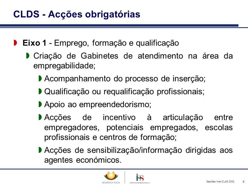 Sessões Inter-CLAS 2008 6 CLDS - Acções obrigatórias  Eixo 1 - Emprego, formação e qualificação  Criação de Gabinetes de atendimento na área da empr