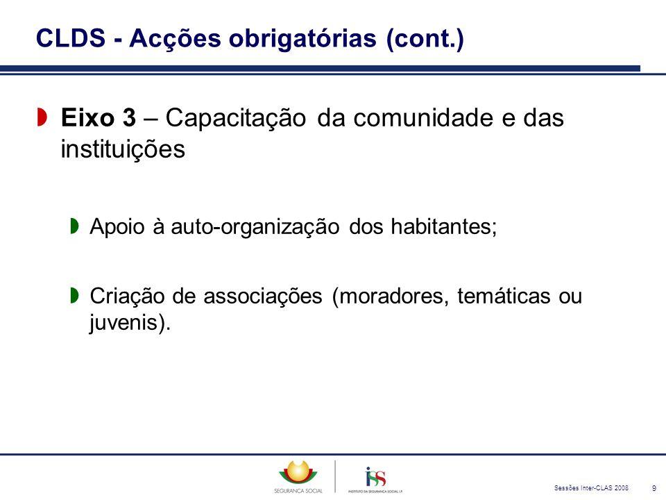 Sessões Inter-CLAS 2008 9 CLDS - Acções obrigatórias (cont.)  Eixo 3 – Capacitação da comunidade e das instituições  Apoio à auto-organização dos ha