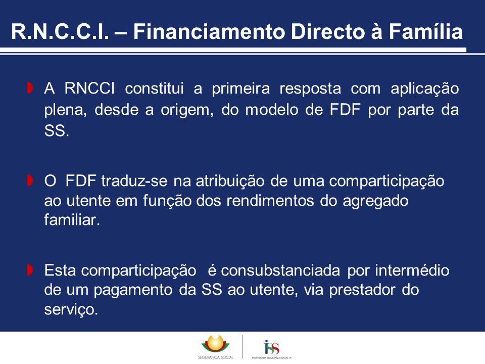 R.N.C.C.I. – Financiamento Directo à Família  A RNCCI constitui a primeira resposta com aplicação plena, desde a origem, do modelo de FDF por parte d