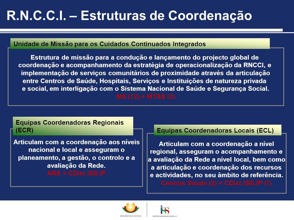 R.N.C.C.I. – Estruturas de Coordenação Estrutura de missão para a condução e lançamento do projecto global de coordenação e acompanhamento da estratég