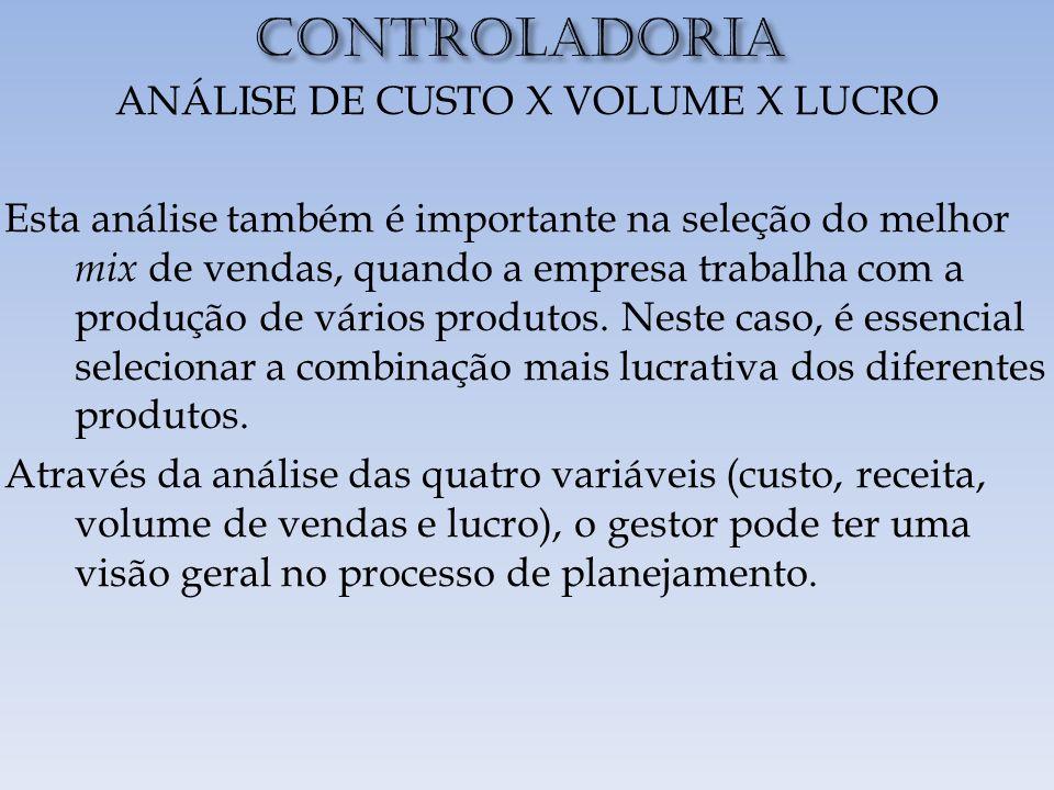 CONTROLADORIA ANÁLISE DE CUSTO X VOLUME X LUCRO Esta análise também é importante na seleção do melhor mix de vendas, quando a empresa trabalha com a produção de vários produtos.