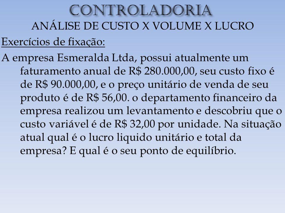 CONTROLADORIA ANÁLISE DE CUSTO X VOLUME X LUCRO Exercícios de fixação: A empresa Esmeralda Ltda, possui atualmente um faturamento anual de R$ 280.000,00, seu custo fixo é de R$ 90.000,00, e o preço unitário de venda de seu produto é de R$ 56,00.
