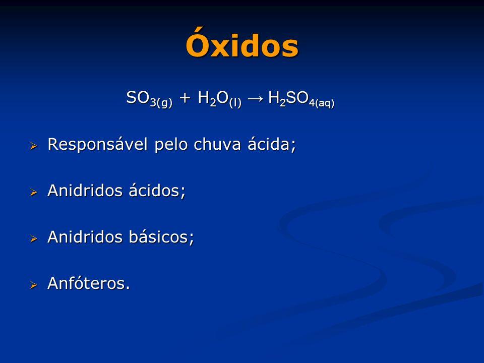 Óxidos SO 3(g) + H 2 O (l) → H 2 SO 4(aq)  Responsável pelo chuva ácida;  Anidridos ácidos;  Anidridos básicos;  Anfóteros.