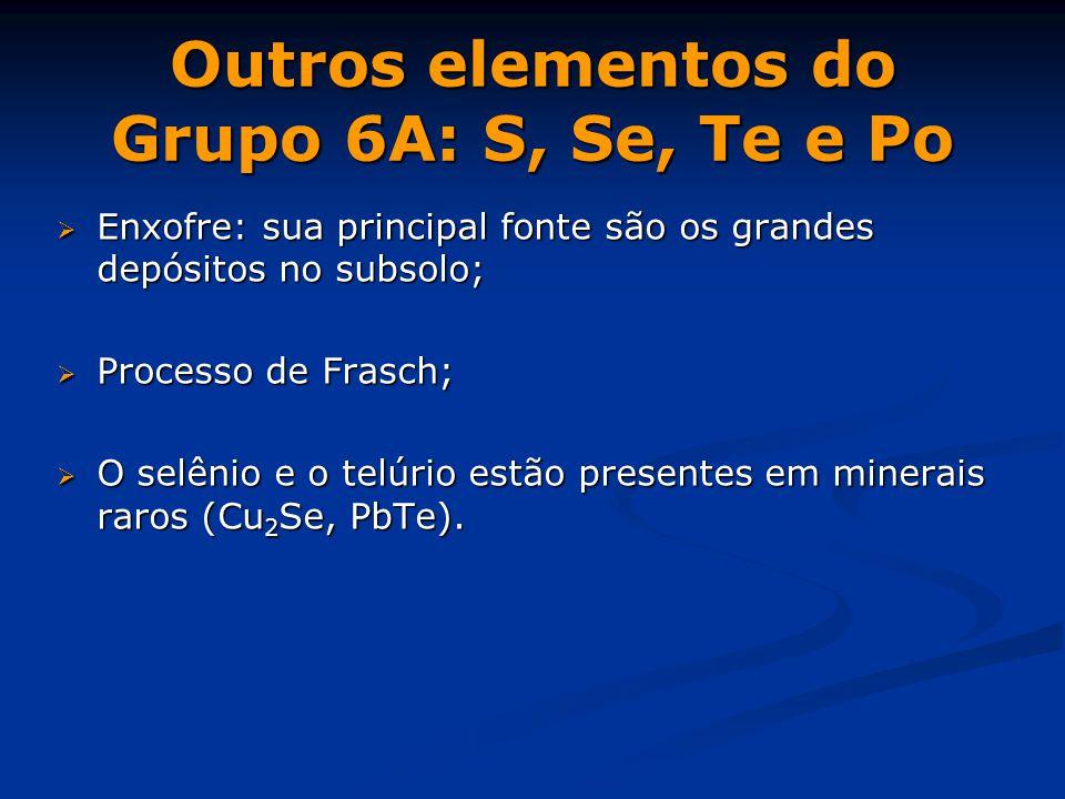Outros elementos do Grupo 6A: S, Se, Te e Po  Enxofre: sua principal fonte são os grandes depósitos no subsolo;  Processo de Frasch;  O selênio e o telúrio estão presentes em minerais raros (Cu 2 Se, PbTe).