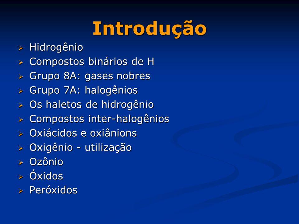 Introdução  Hidrogênio  Compostos binários de H  Grupo 8A: gases nobres  Grupo 7A: halogênios  Os haletos de hidrogênio  Compostos inter-halogênios  Oxiácidos e oxiânions  Oxigênio - utilização  Ozônio  Óxidos  Peróxidos