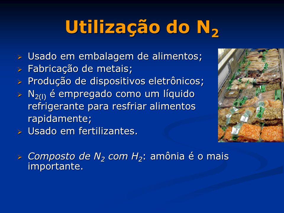Utilização do N 2  Usado em embalagem de alimentos;  Fabricação de metais;  Produção de dispositivos eletrônicos;  N 2(l) é empregado como um líquido refrigerante para resfriar alimentos rapidamente;  Usado em fertilizantes.