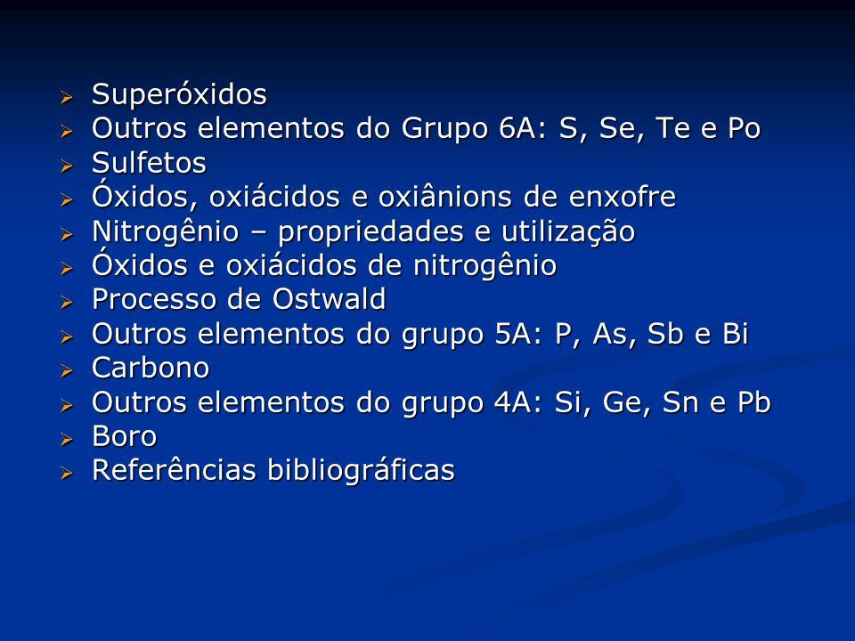  Superóxidos  Outros elementos do Grupo 6A: S, Se, Te e Po  Sulfetos  Óxidos, oxiácidos e oxiânions de enxofre  Nitrogênio – propriedades e utilização  Óxidos e oxiácidos de nitrogênio  Processo de Ostwald  Outros elementos do grupo 5A: P, As, Sb e Bi  Carbono  Outros elementos do grupo 4A: Si, Ge, Sn e Pb  Boro  Referências bibliográficas