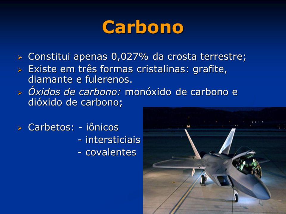Carbono  Constitui apenas 0,027% da crosta terrestre;  Existe em três formas cristalinas: grafite, diamante e fulerenos.  Óxidos de carbono: monóxi