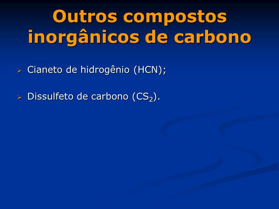 Outros compostos inorgânicos de carbono  Cianeto de hidrogênio (HCN);  Dissulfeto de carbono (CS 2 ).