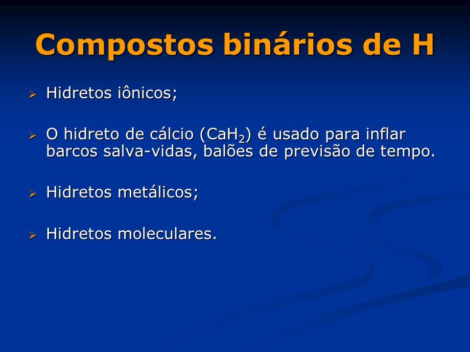 Compostos binários de H  Hidretos iônicos;  O hidreto de cálcio (CaH 2 ) é usado para inflar barcos salva-vidas, balões de previsão de tempo.  Hidr