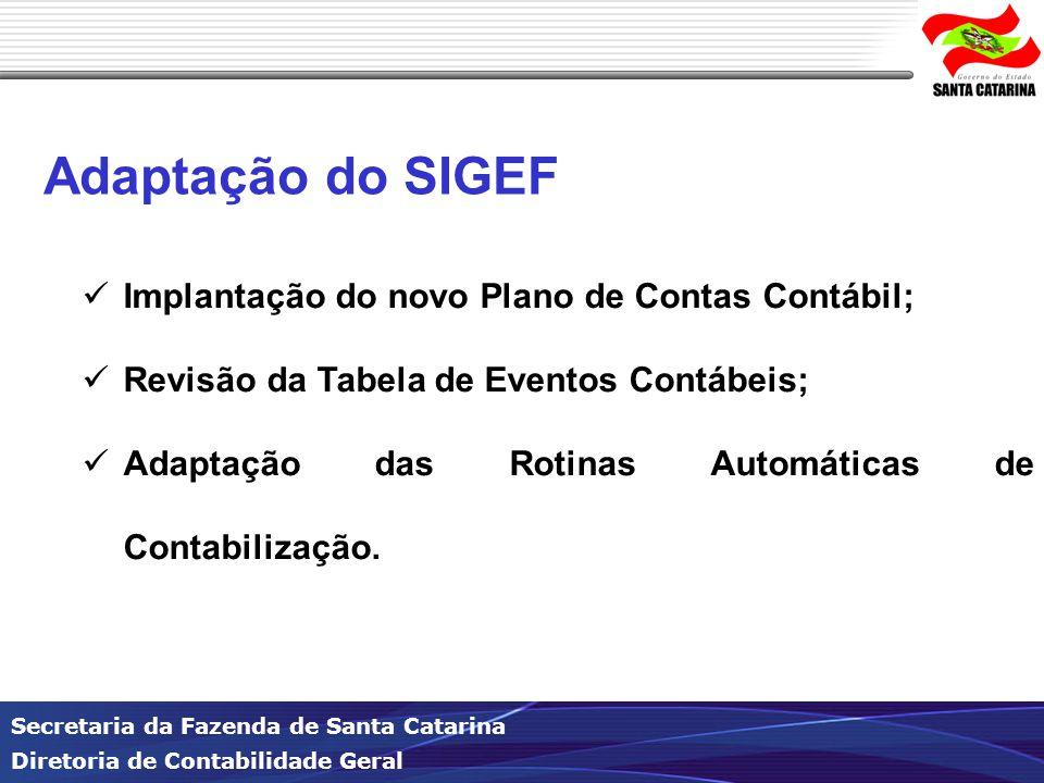 Secretaria da Fazenda de Santa Catarina Diretoria de Contabilidade Geral Adaptação do SIGEF Implantação do novo Plano de Contas Contábil; Revisão da Tabela de Eventos Contábeis; Adaptação das Rotinas Automáticas de Contabilização.