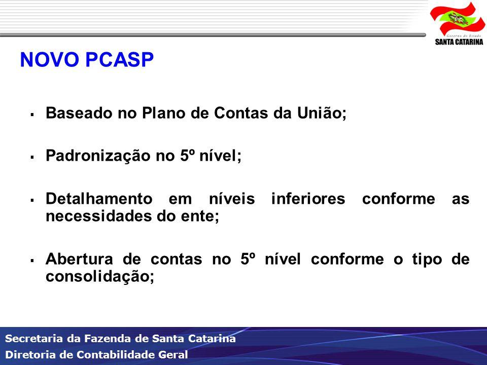 Secretaria da Fazenda de Santa Catarina Diretoria de Contabilidade Geral NOVO PCASP  Baseado no Plano de Contas da União;  Padronização no 5º nível;