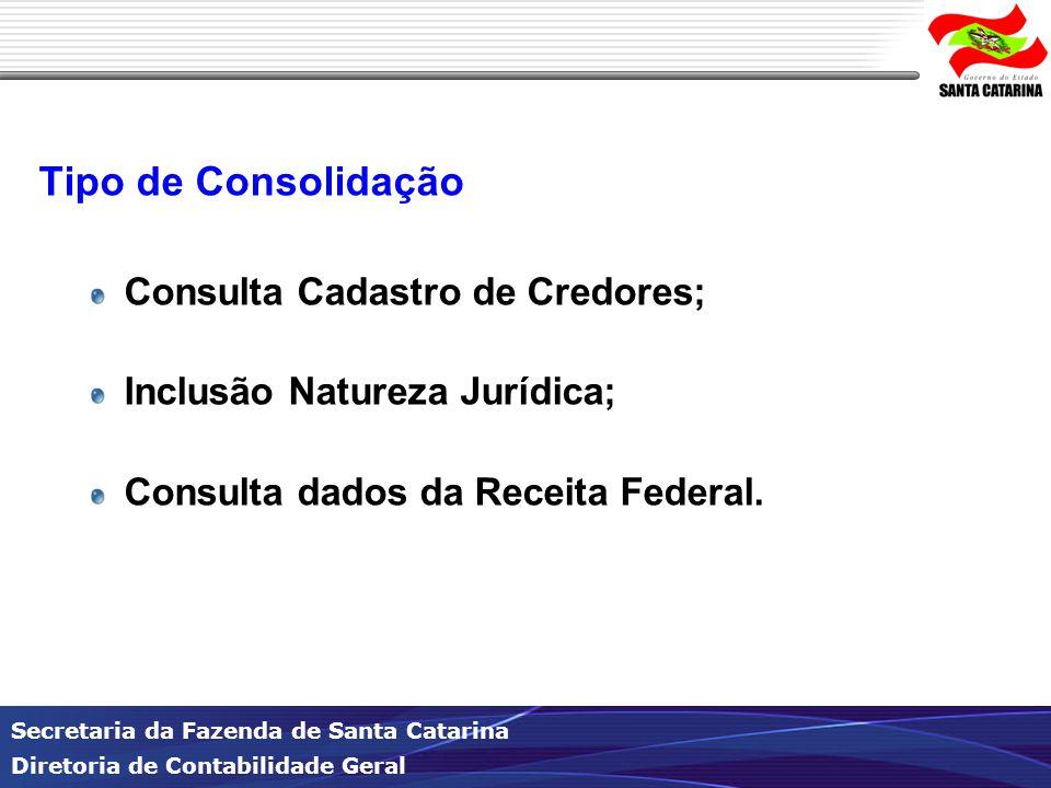 Secretaria da Fazenda de Santa Catarina Diretoria de Contabilidade Geral Tipo de Consolidação Consulta Cadastro de Credores; Inclusão Natureza Jurídica; Consulta dados da Receita Federal.