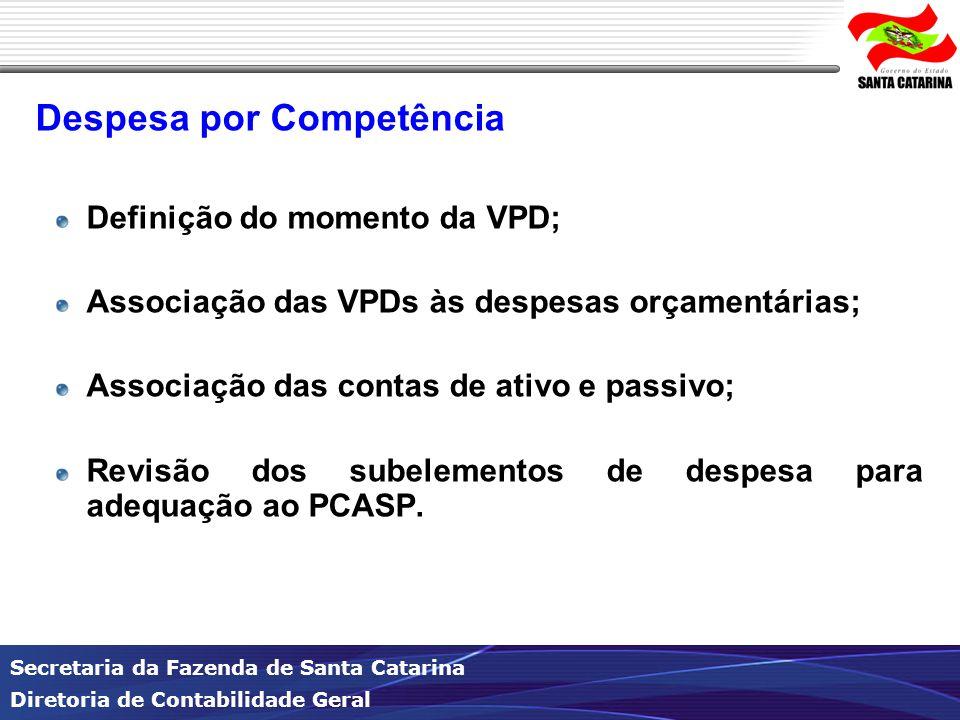 Secretaria da Fazenda de Santa Catarina Diretoria de Contabilidade Geral Despesa por Competência Definição do momento da VPD; Associação das VPDs às despesas orçamentárias; Associação das contas de ativo e passivo; Revisão dos subelementos de despesa para adequação ao PCASP.