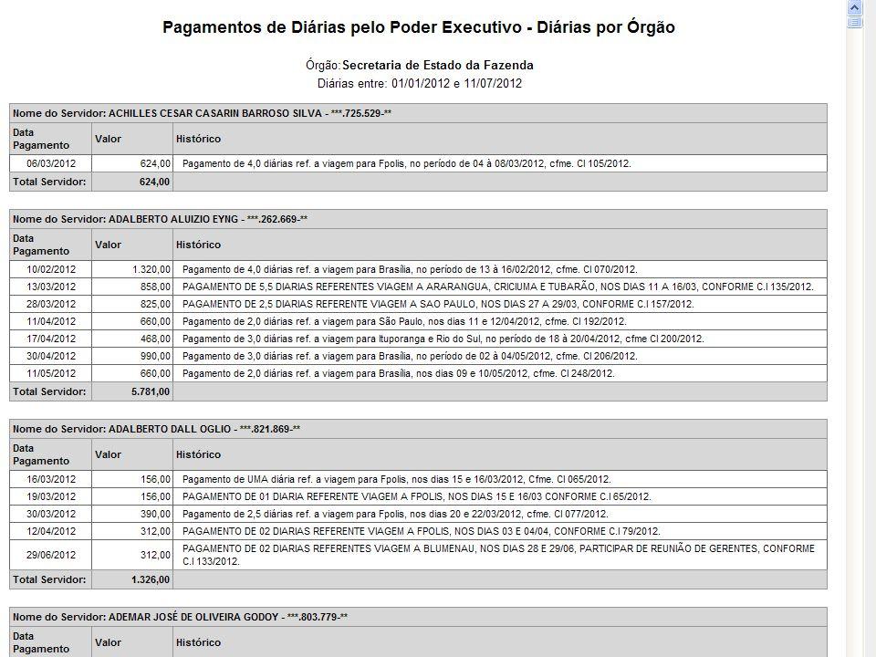 Secretaria da Fazenda de Santa Catarina Diretoria de Contabilidade Geral Gasto Público Colar telas exemplos maiores fornecedores pagamentos (escolher