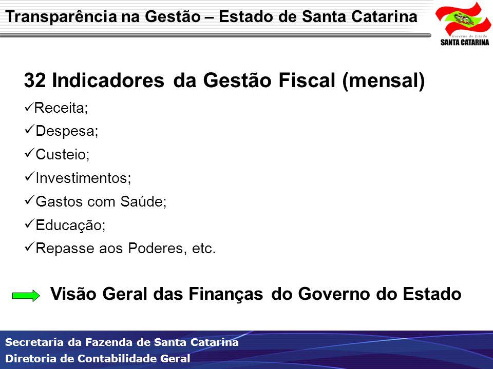 Secretaria da Fazenda de Santa Catarina Diretoria de Contabilidade Geral 32 Indicadores da Gestão Fiscal (mensal) Receita; Despesa; Custeio; Investime