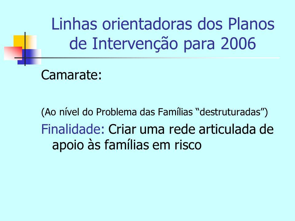 Linhas orientadoras dos Planos de Intervenção para 2006 Camarate: (Ao nível do Problema das Famílias destruturadas ) Finalidade: Criar uma rede articulada de apoio às famílias em risco