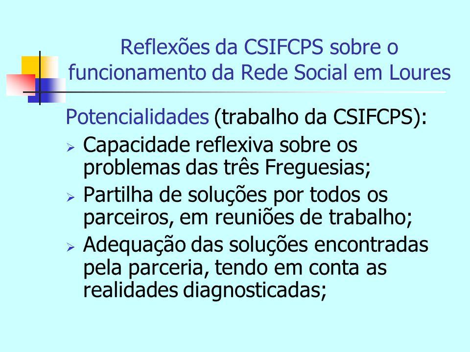 Reflexões da CSIFCPS sobre o funcionamento da Rede Social em Loures Potencialidades (trabalho da CSIFCPS):  Capacidade reflexiva sobre os problemas das três Freguesias;  Partilha de soluções por todos os parceiros, em reuniões de trabalho;  Adequação das soluções encontradas pela parceria, tendo em conta as realidades diagnosticadas;