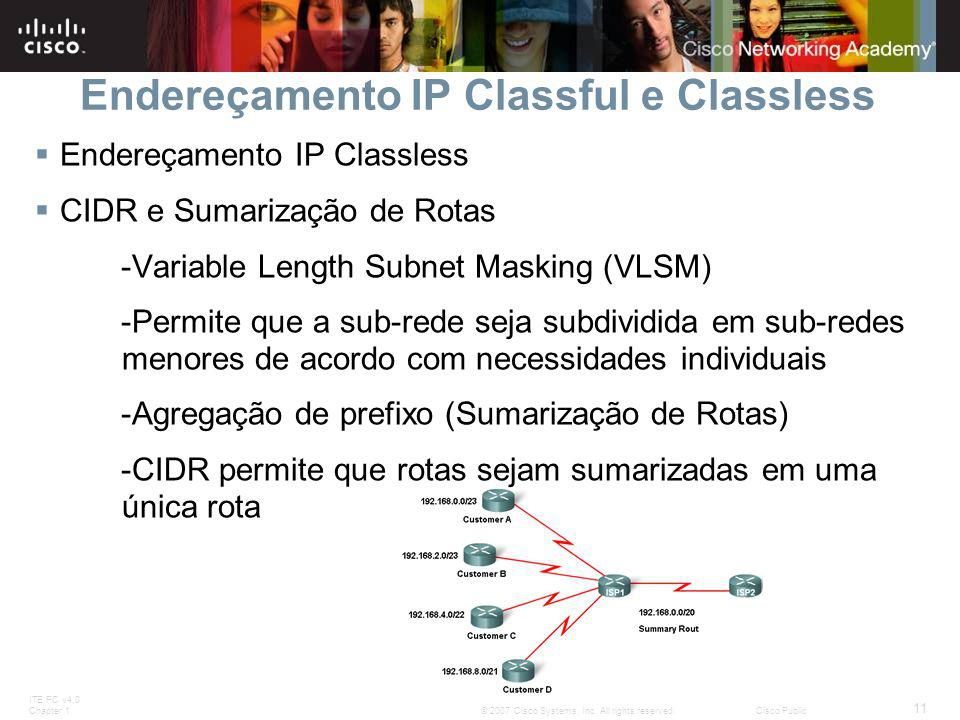 ITE PC v4.0 Chapter 1 11 © 2007 Cisco Systems, Inc. All rights reserved.Cisco Public Endereçamento IP Classful e Classless  Endereçamento IP Classles