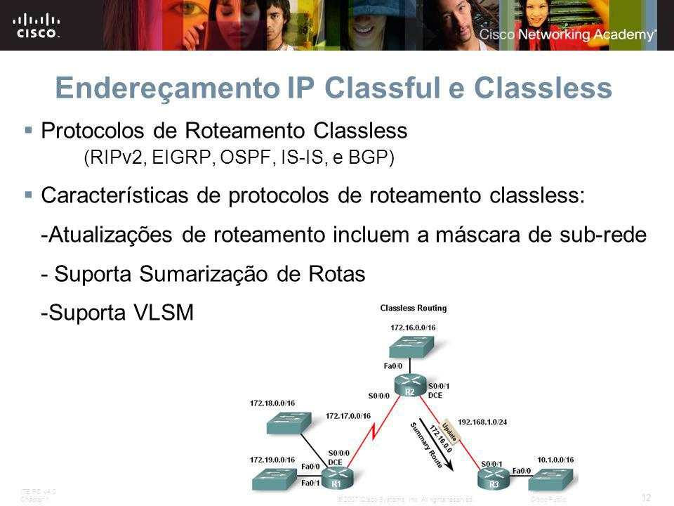 ITE PC v4.0 Chapter 1 12 © 2007 Cisco Systems, Inc. All rights reserved.Cisco Public Endereçamento IP Classful e Classless  Protocolos de Roteamento