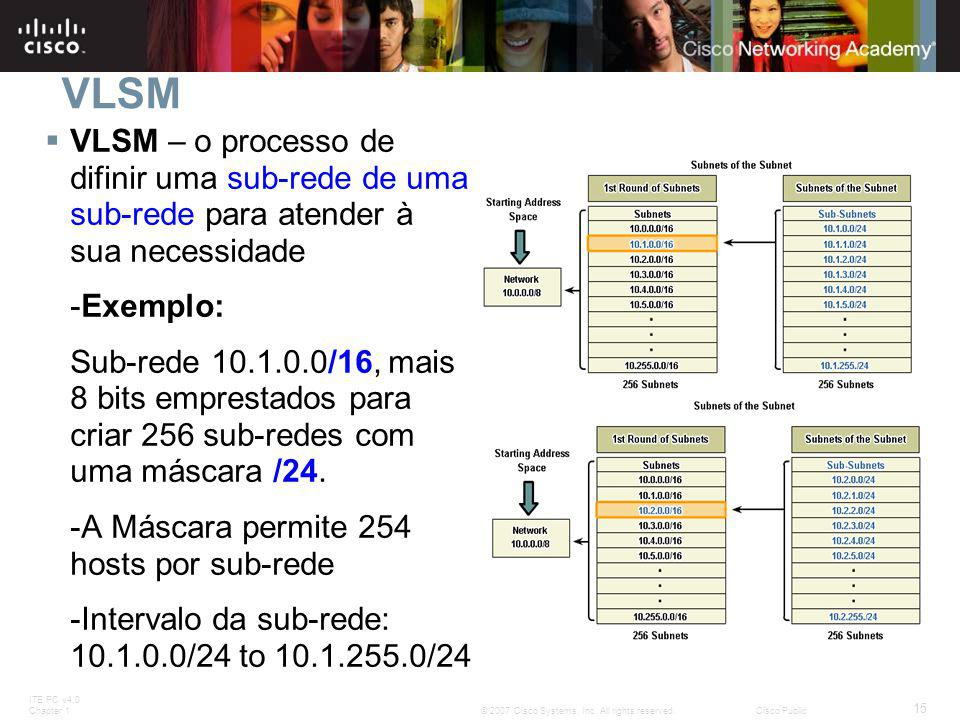 ITE PC v4.0 Chapter 1 15 © 2007 Cisco Systems, Inc. All rights reserved.Cisco Public VLSM  VLSM – o processo de difinir uma sub-rede de uma sub-rede