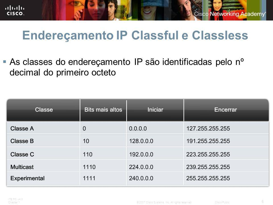 ITE PC v4.0 Chapter 1 6 © 2007 Cisco Systems, Inc. All rights reserved.Cisco Public Endereçamento IP Classful e Classless  As classes do endereçament