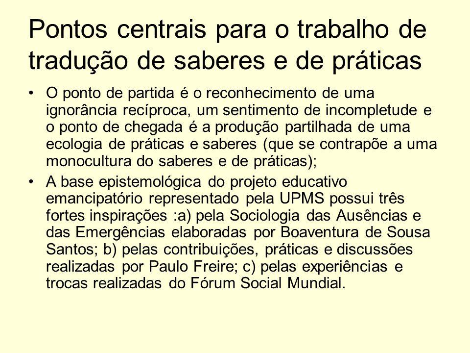 Pontos centrais para o trabalho de tradução de saberes e de práticas O ponto de partida é o reconhecimento de uma ignorância recíproca, um sentimento