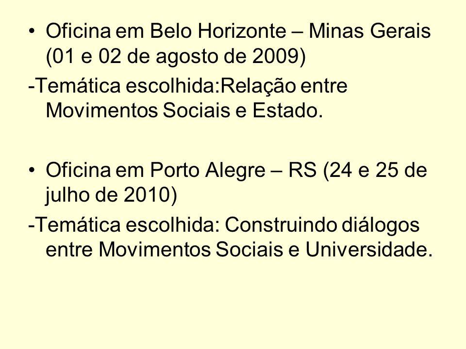 Oficina em Belo Horizonte – Minas Gerais (01 e 02 de agosto de 2009) -Temática escolhida:Relação entre Movimentos Sociais e Estado. Oficina em Porto A