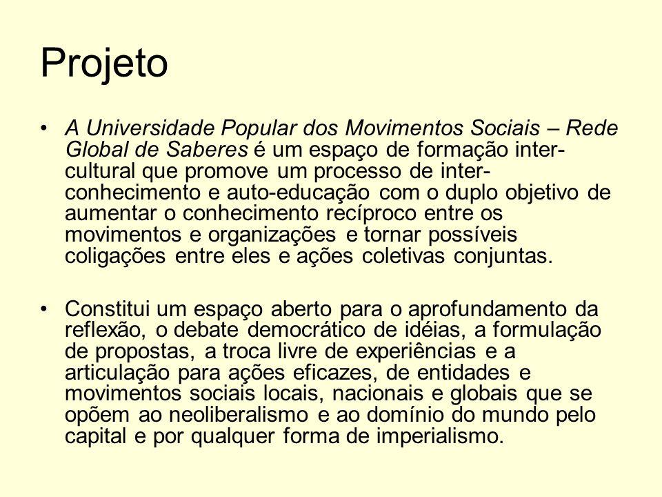 Projeto A Universidade Popular dos Movimentos Sociais – Rede Global de Saberes é um espaço de formação inter- cultural que promove um processo de inte