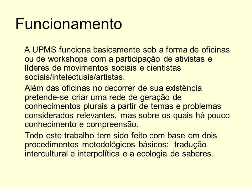 Funcionamento A UPMS funciona basicamente sob a forma de oficinas ou de workshops com a participação de ativistas e líderes de movimentos sociais e ci