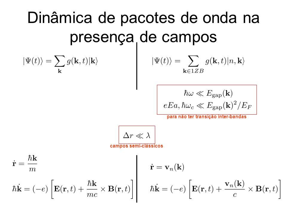 Dinâmica de pacotes de onda na presença de campos para não ter transição inter-bandas campos semi-clássicos