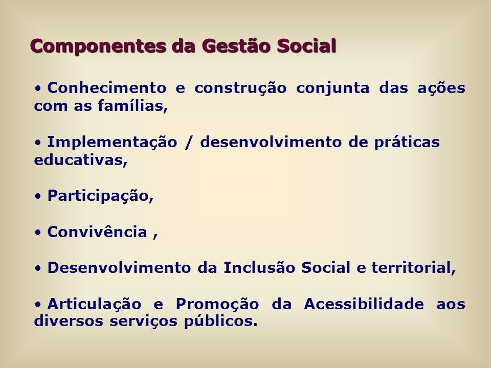 Conhecimento e construção conjunta das ações com as famílias, Implementação / desenvolvimento de práticas educativas, Participação, Convivência, Desen