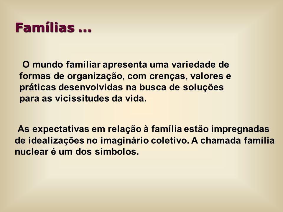 Famílias... As expectativas em relação à família estão impregnadas de idealizações no imaginário coletivo. A chamada família nuclear é um dos símbolos
