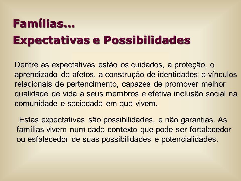 Famílias... Expectativas e Possibilidades Dentre as expectativas estão os cuidados, a proteção, o aprendizado de afetos, a construção de identidades e
