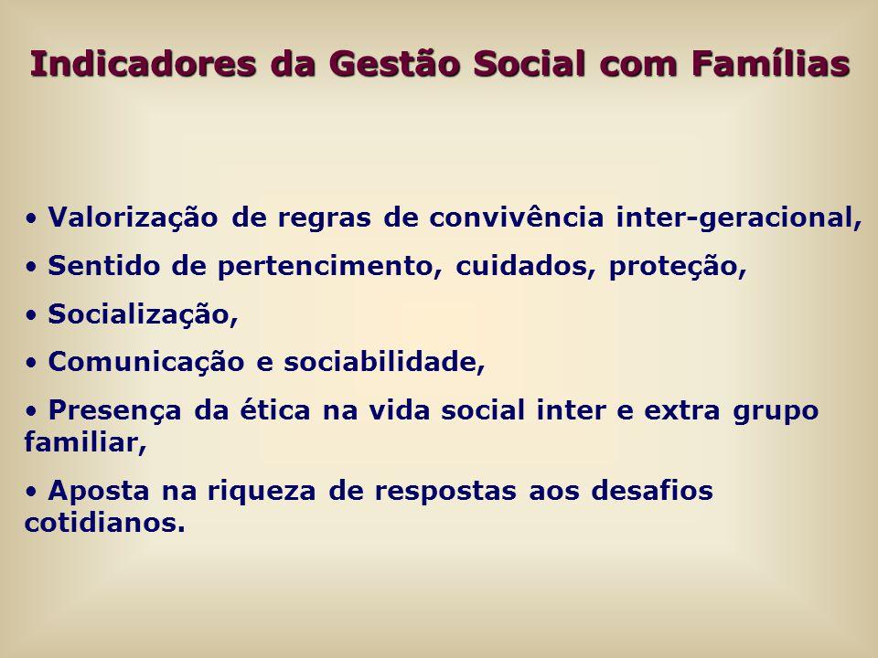 Indicadores da Gestão Social com Famílias Valorização de regras de convivência inter-geracional, Sentido de pertencimento, cuidados, proteção, Sociali