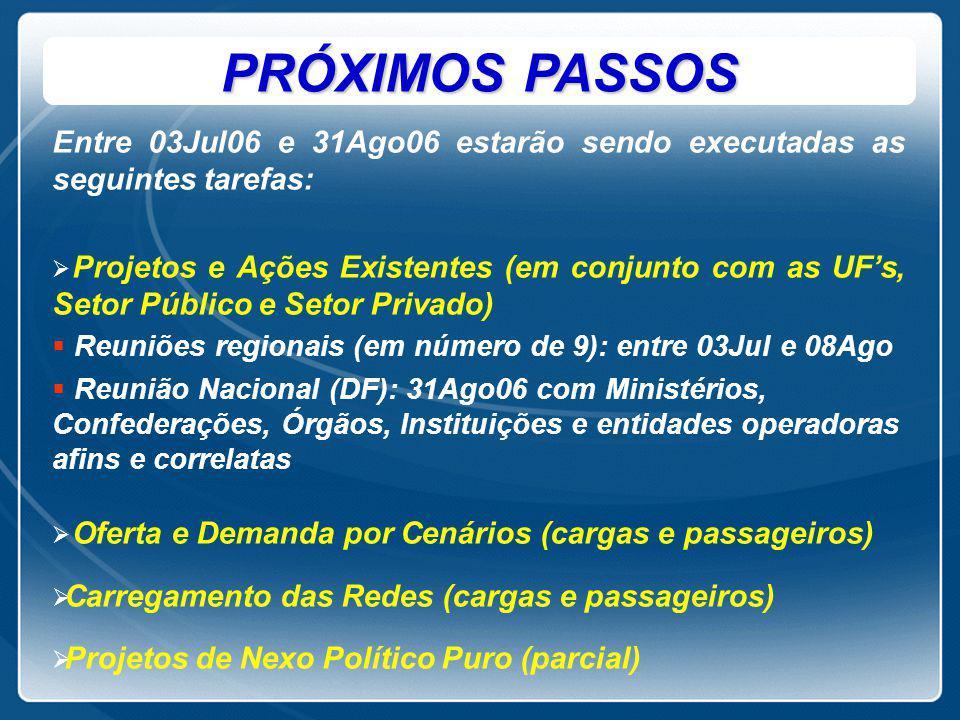 PRÓXIMOS PASSOS Entre 03Jul06 e 31Ago06 estarão sendo executadas as seguintes tarefas:   Projetos e Ações Existentes (em conjunto com as UF's, Setor