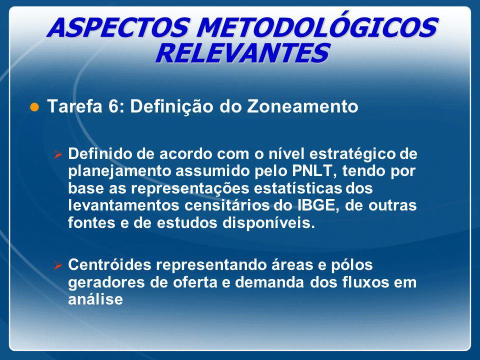 ASPECTOS METODOLÓGICOS RELEVANTES l Tarefa 6: Definição do Zoneamento  Definido de acordo com o nível estratégico de planejamento assumido pelo PNLT,