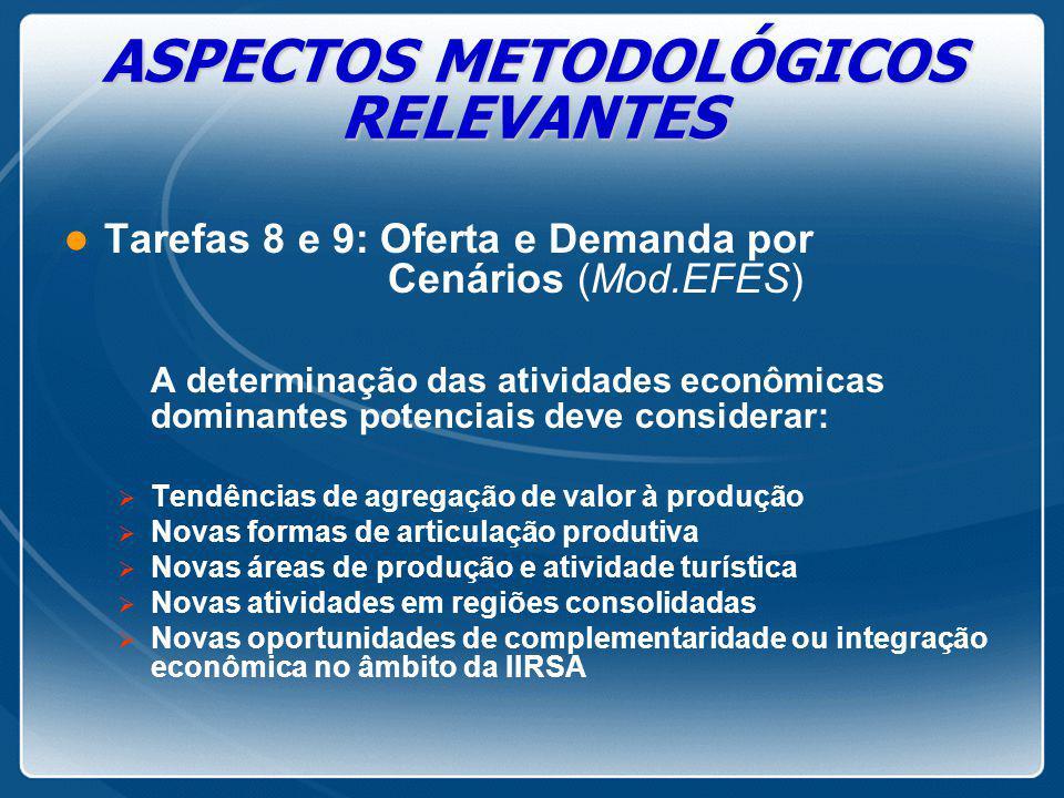 ASPECTOS METODOLÓGICOS RELEVANTES l Tarefas 8 e 9: Oferta e Demanda por Cenários (Mod.EFES) A determinação das atividades econômicas dominantes potenc