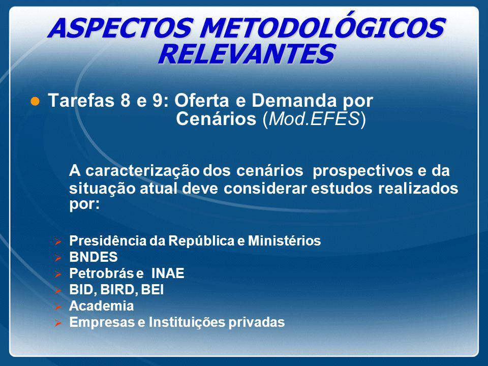 ASPECTOS METODOLÓGICOS RELEVANTES l Tarefas 8 e 9: Oferta e Demanda por Cenários (Mod.EFES) A caracterização dos cenários prospectivos e da situação a
