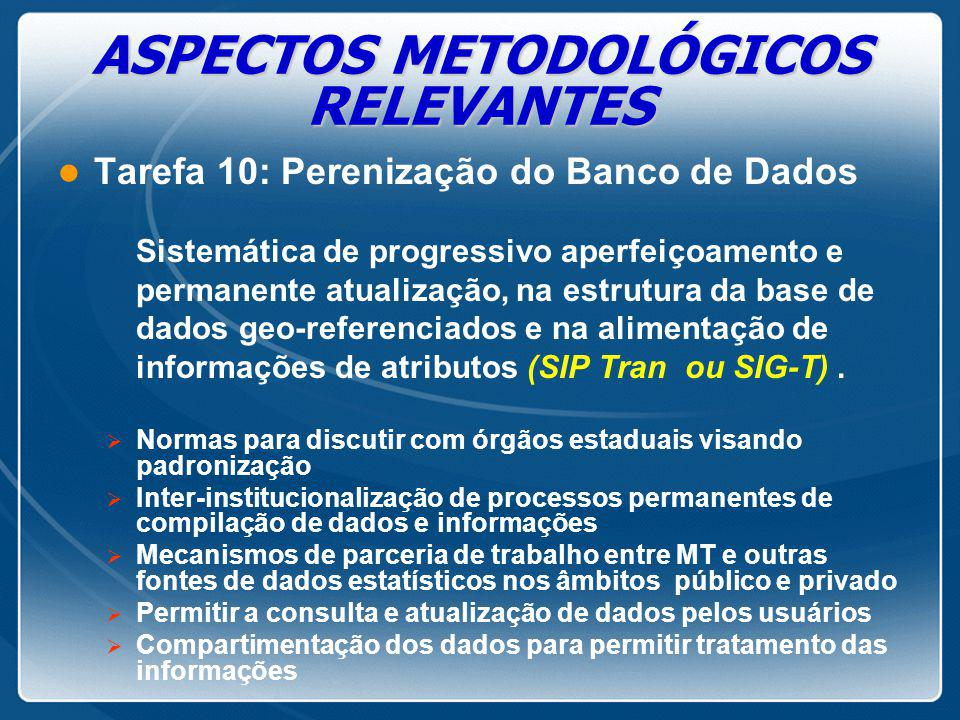 ASPECTOS METODOLÓGICOS RELEVANTES l Tarefa 10: Perenização do Banco de Dados Sistemática de progressivo aperfeiçoamento e permanente atualização, na e