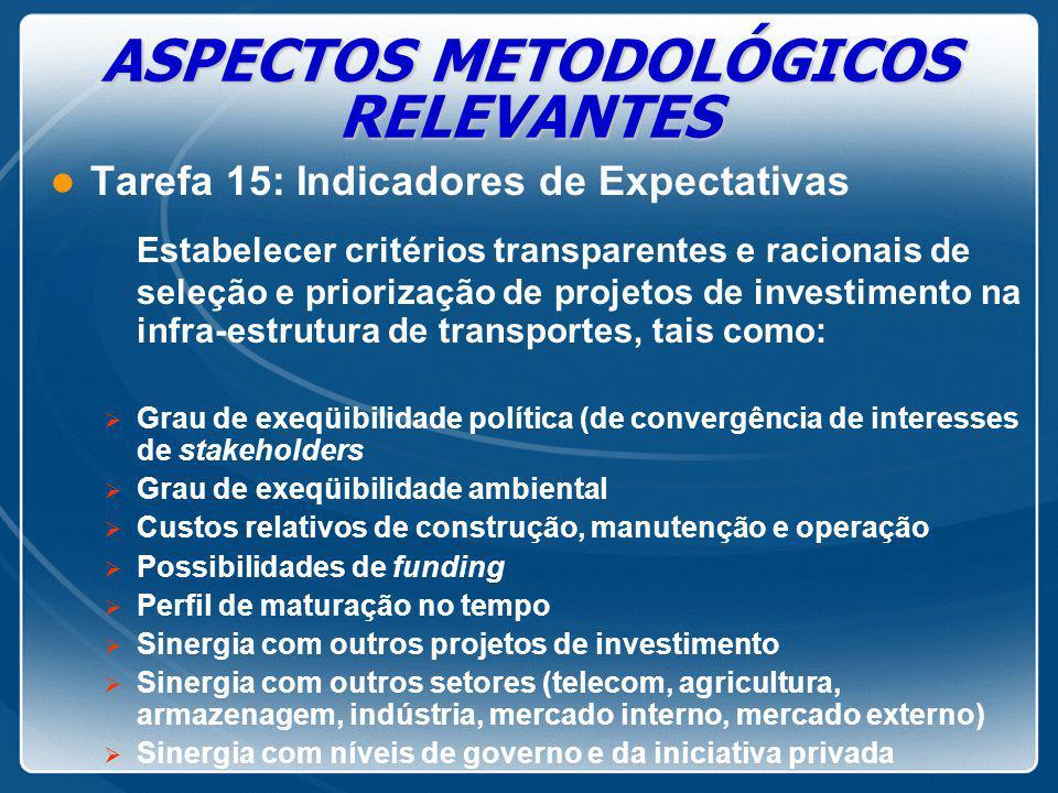 ASPECTOS METODOLÓGICOS RELEVANTES l Tarefa 15: Indicadores de Expectativas Estabelecer critérios transparentes e racionais de seleção e priorização de