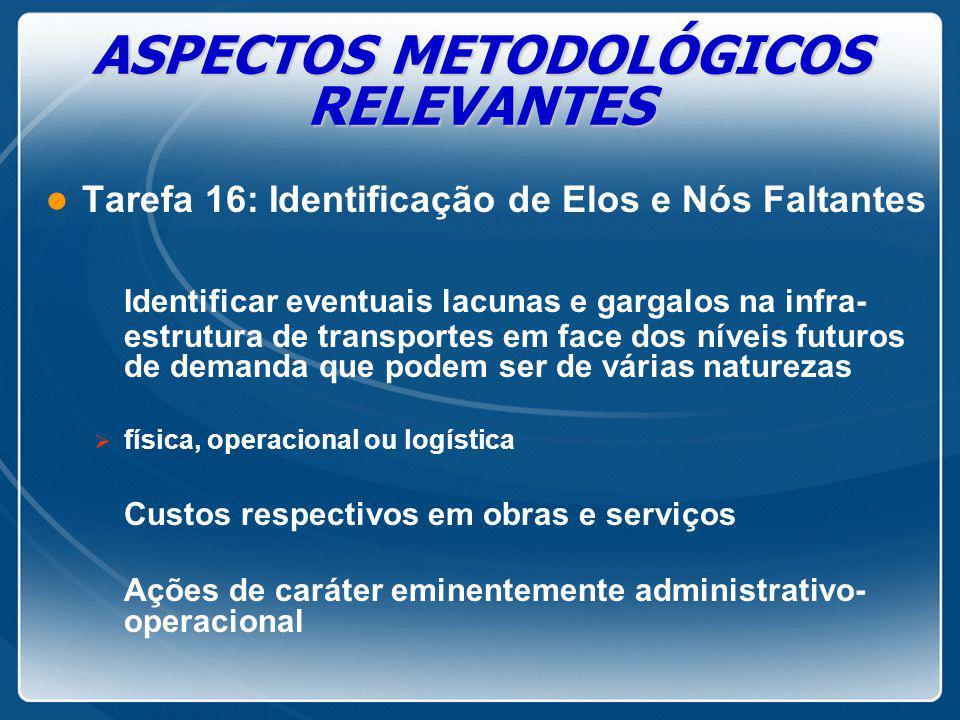 ASPECTOS METODOLÓGICOS RELEVANTES l Tarefa 16: Identificação de Elos e Nós Faltantes Identificar eventuais lacunas e gargalos na infra- estrutura de t