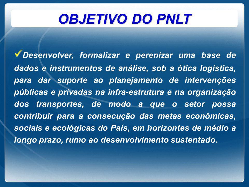 OBJETIVO DO PNLT Desenvolver, formalizar e perenizar uma base de dados e instrumentos de análise, sob a ótica logística, para dar suporte ao planejame