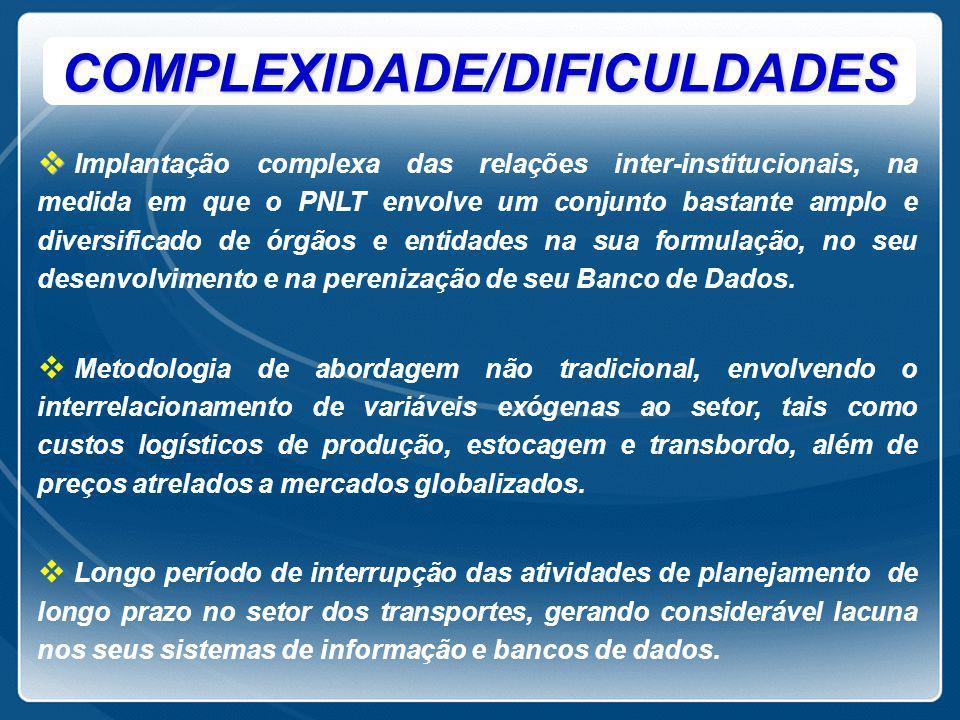 COMPLEXIDADE/DIFICULDADES   Implantação complexa das relações inter-institucionais, na medida em que o PNLT envolve um conjunto bastante amplo e div