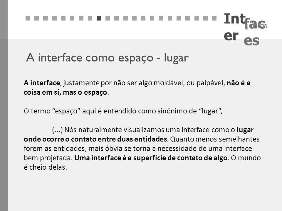 Int er fac es gráficas A interface como espaço - lugar A interface, justamente por não ser algo moldável, ou palpável, não é a coisa em si, mas o espa